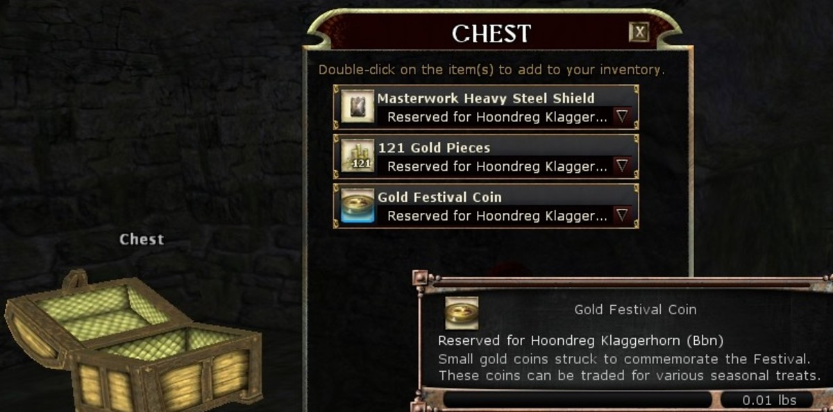 Gold festival coins, earned only during DDO's Festivult (an event timed around Christmas) can fetch as much as 10,000 platinum pieces each.