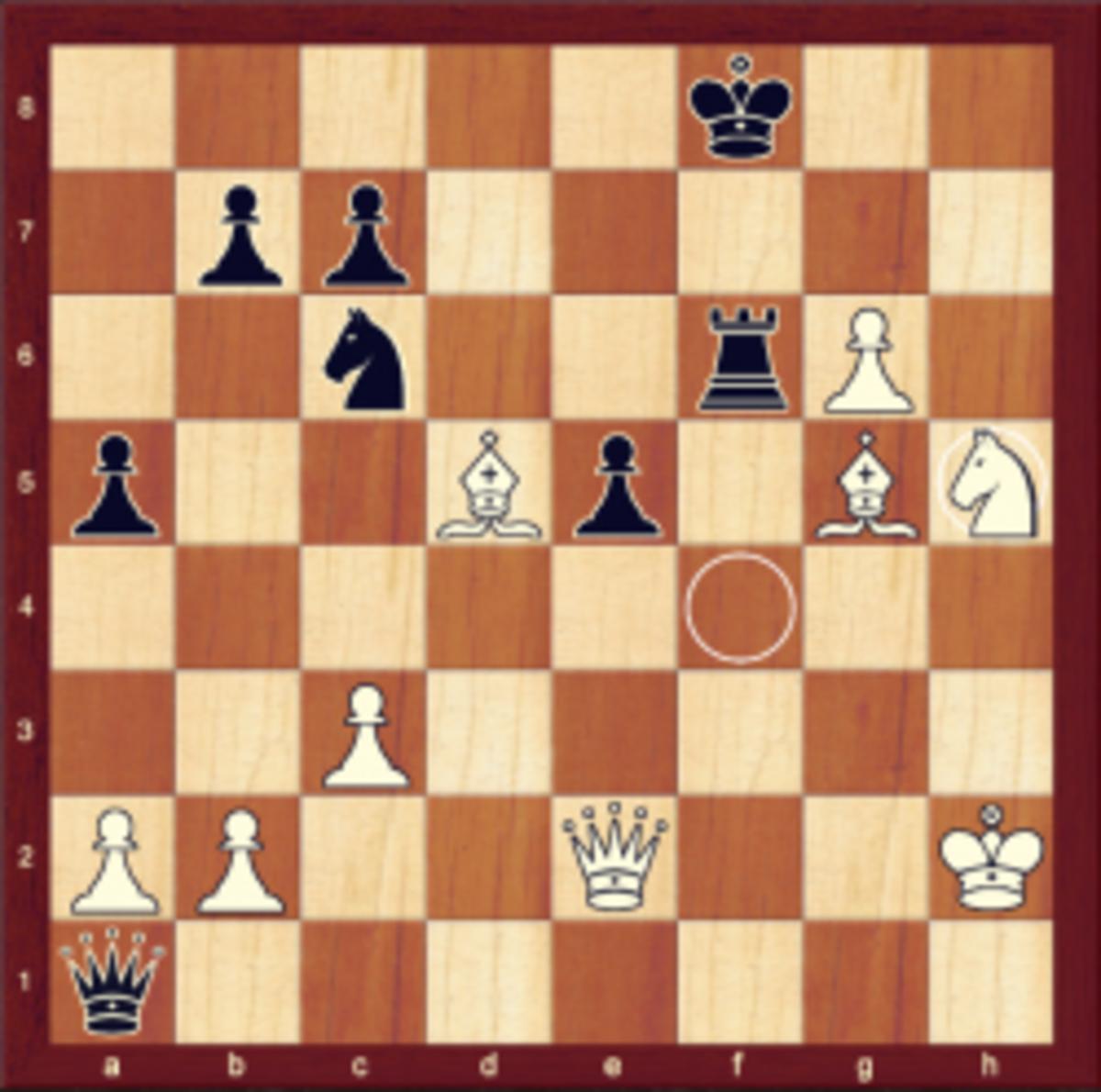 Final position of Pachman vs. Nezhmetdinov, Bucharest 1954