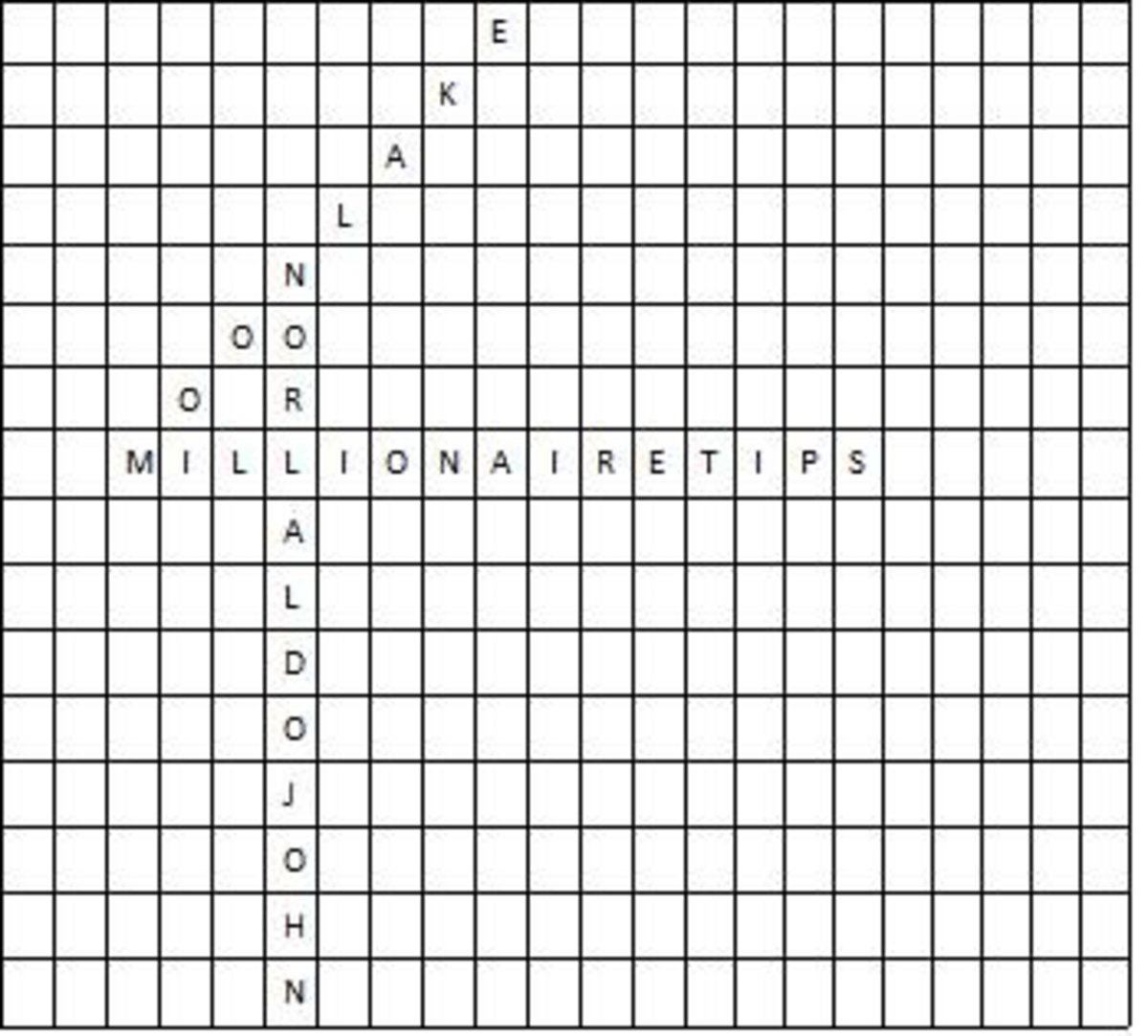 A word search puzzle, also known as a seek and find, in its creation.