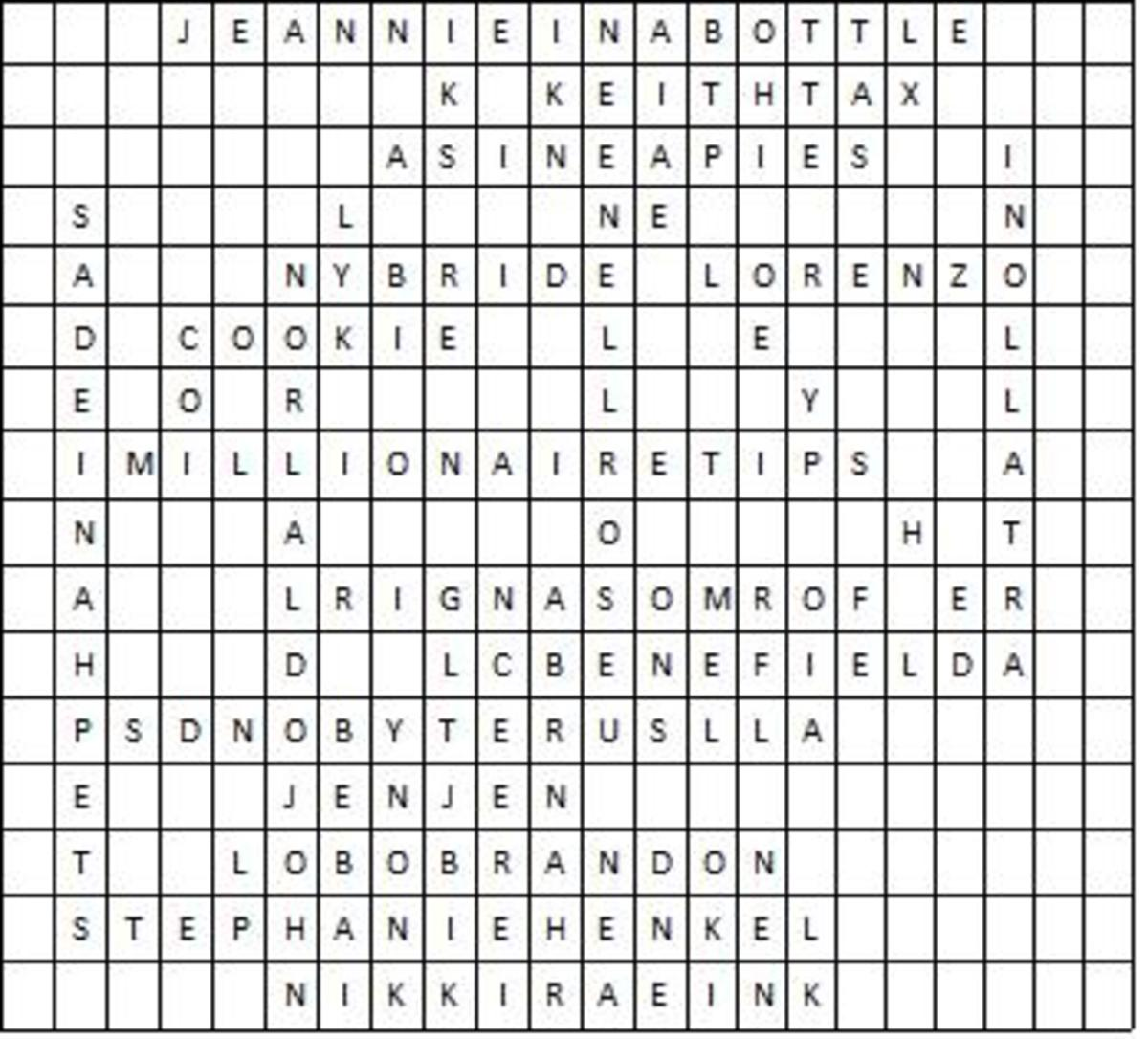 All the words have been entered into the word search puzzle grid.