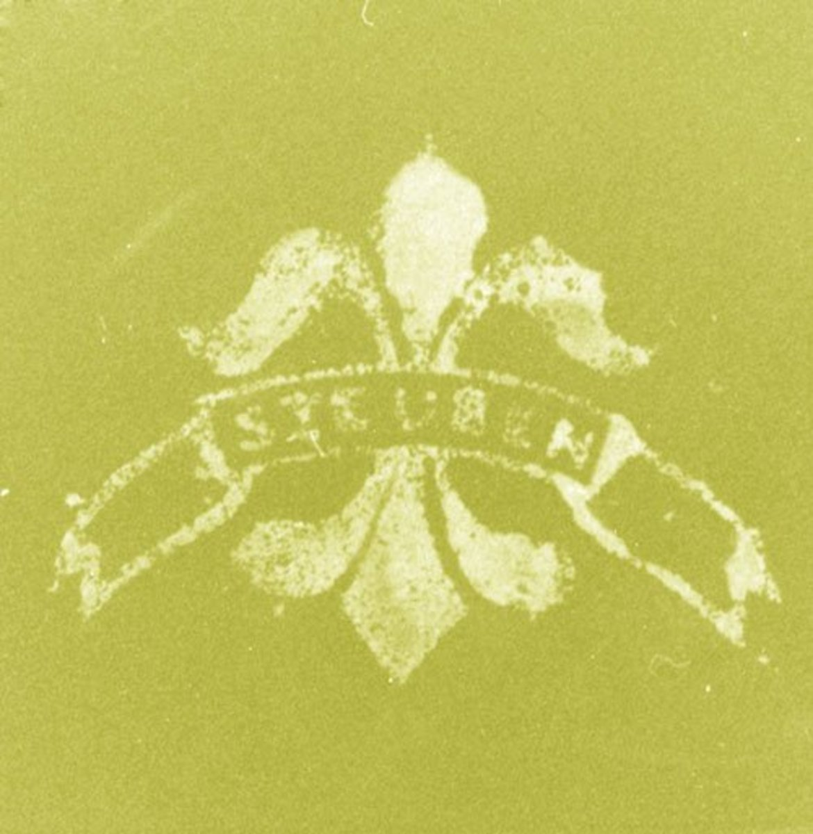 Typical forged acid fleur-de-lis mark. Blurred, illegible letters and a rough-edged outline.
