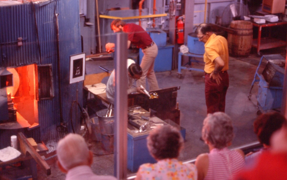 Steuben glass was constructed in an extremely precise manner. Shown here is the Steuben glassworks in Corning, New York, in 1976.