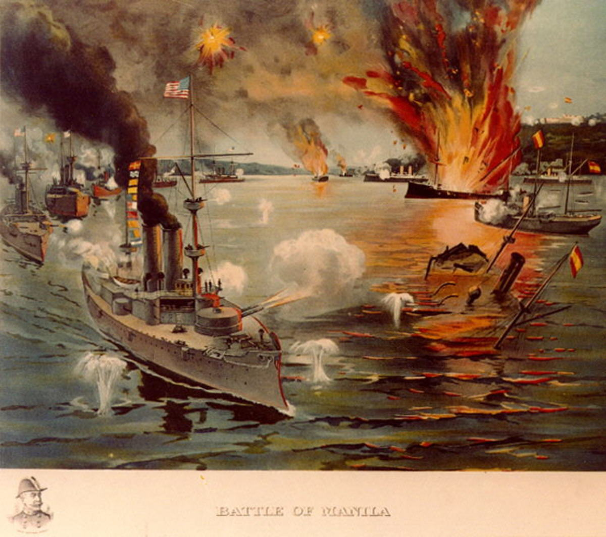 Battle of Manila Bay. Contemporary print with the Olympia in the foreground and a vignette portrait of Admiral Dewey at the lower left.