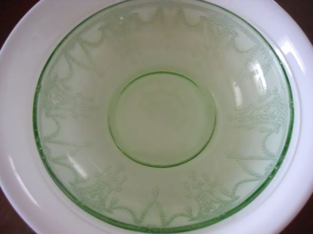 The 8-1/2 Berry Bowl. Interestingly, the green, as shown is worth about $45; if it were in pink it would be worth $175.00. It is true for all pieces, the price varies for pieces in different colors.
