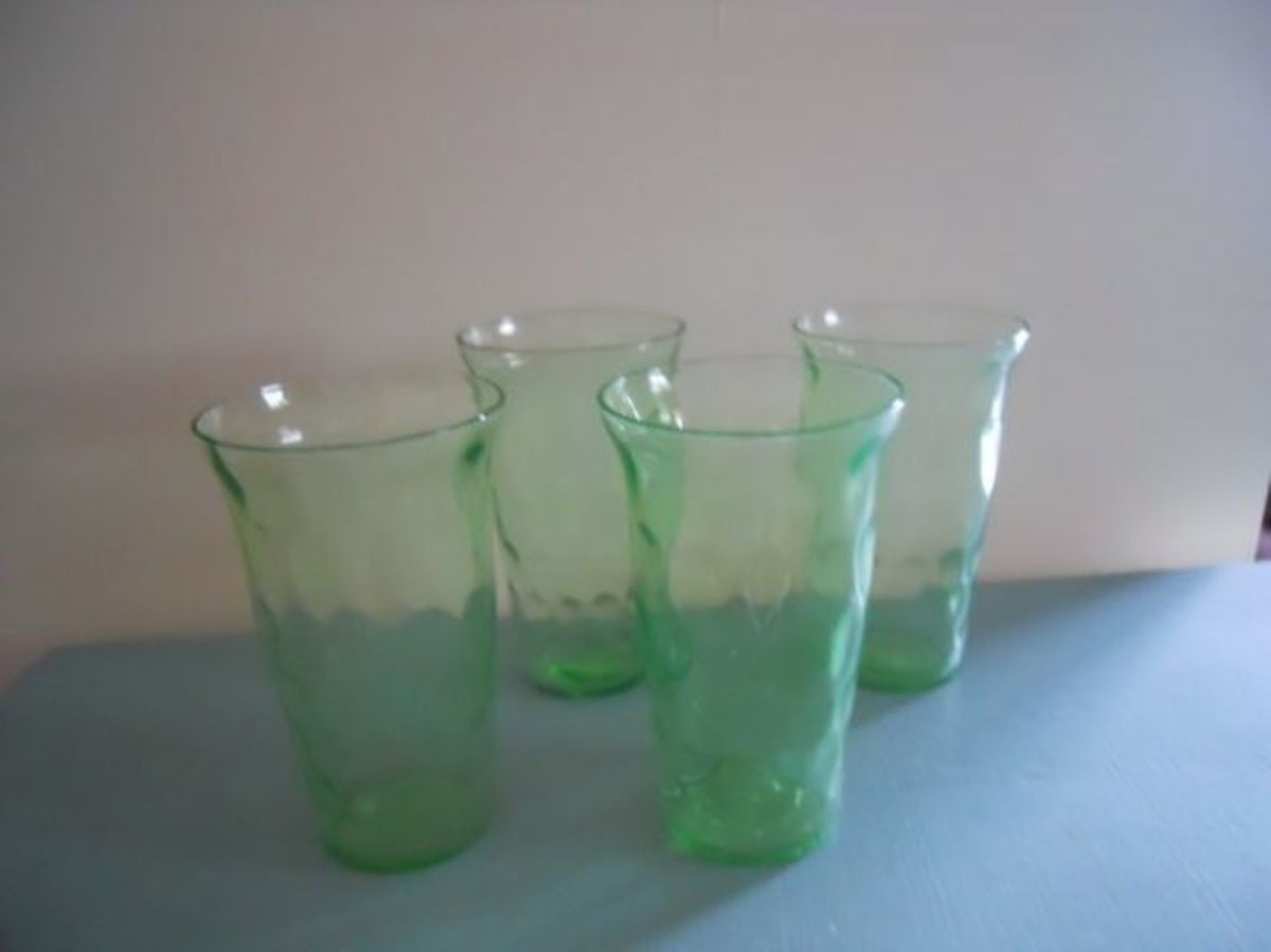 Hex Optic: manufactured By Jeannette Glass Company, from1928-1932 —also Known As The Honeycomb Pattern. Shown in the picture are the 3-3/4 inch high tumblers. Pieces in this pattern were made in green and green ultra-marine.