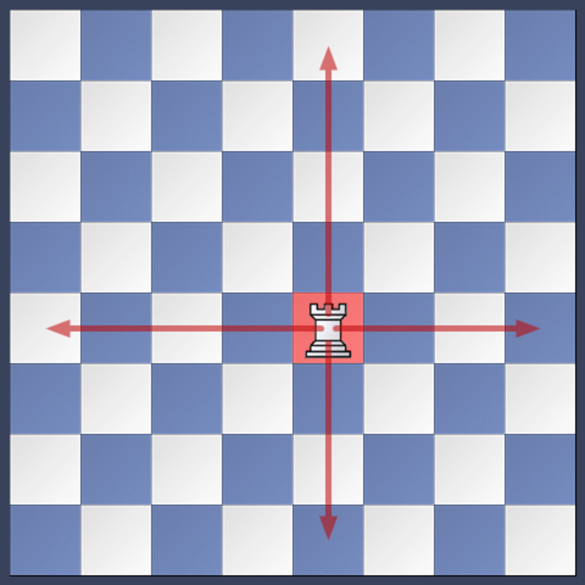 The rook can move to any square that is vertical or horizontal to their starting position.