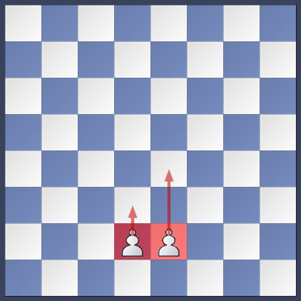 A pawn can move one or two squares (only from its starting position) forward. It cannot move backward.