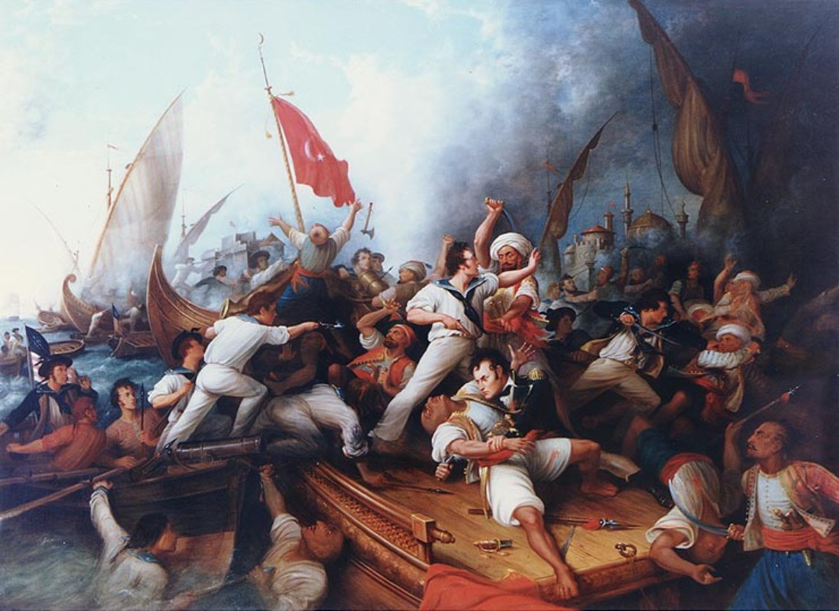 Decatur boarding the Tripolitan gunboat during the bombardment of Tripoli, 3 August 1804.