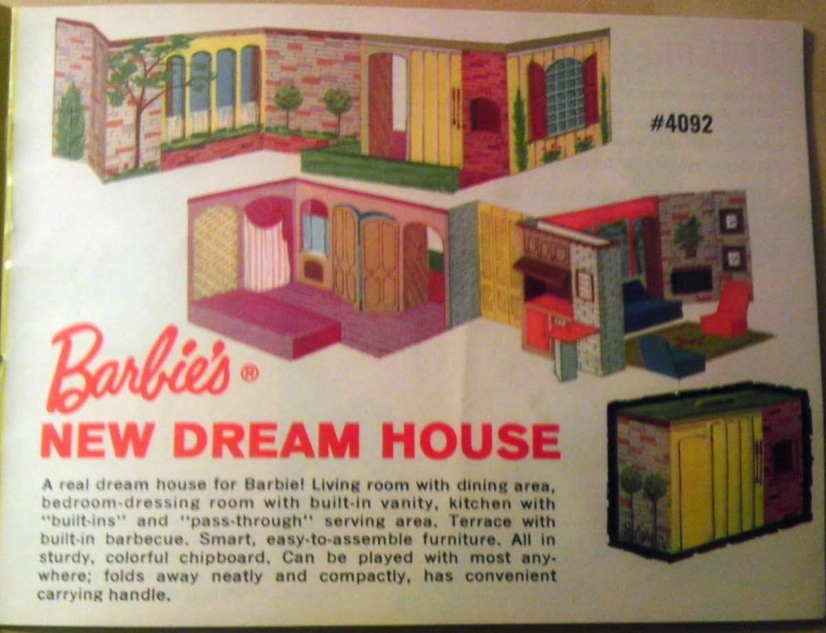 """Barbie's New Dream House"" in 1963 with easy-to-assemble furniture. Made of chipboard. Original price, also $8.00."