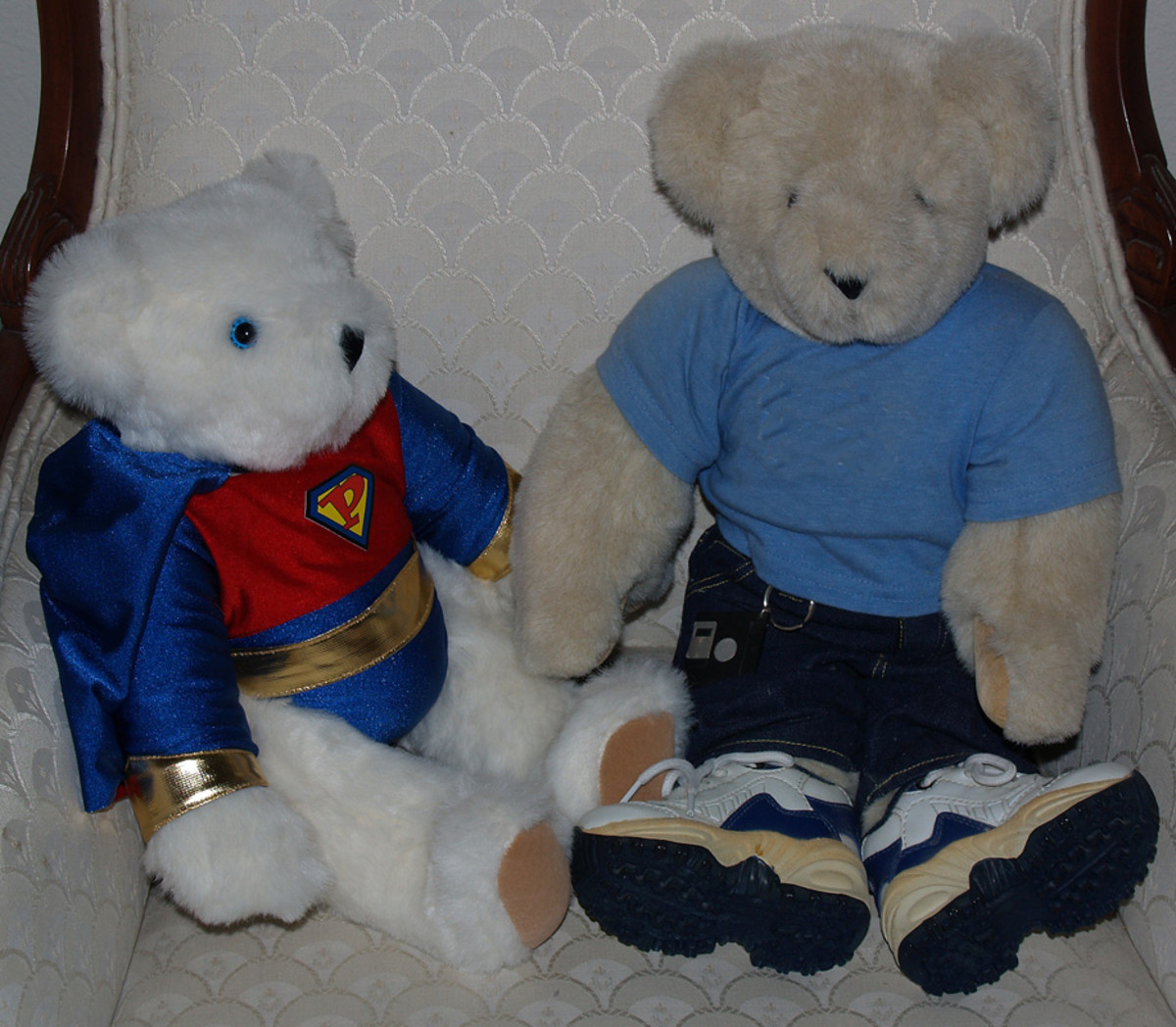 Two of the Vermont Teddy Bears in the author's collection.