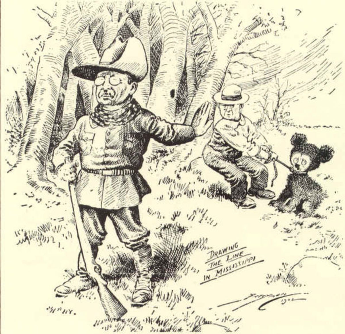 The original drawing by Clifford Berryman showed a much larger bear standing on its hind legs. It was revised to show the smaller bear pictured here. (This drawing is in the Public Domain and appeared in the Washington Post in November of 1902)