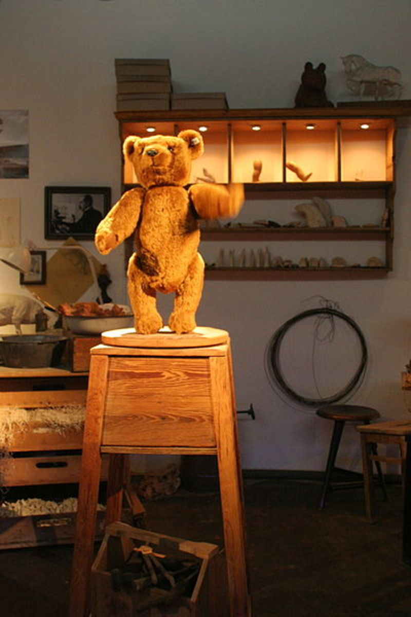Replica of Steiff Teddy 55PB, the first Teddy Bear produced by the Steiff firm in 1903. Due to the delicate nature of its construction, no originals of this bear are known to exist.