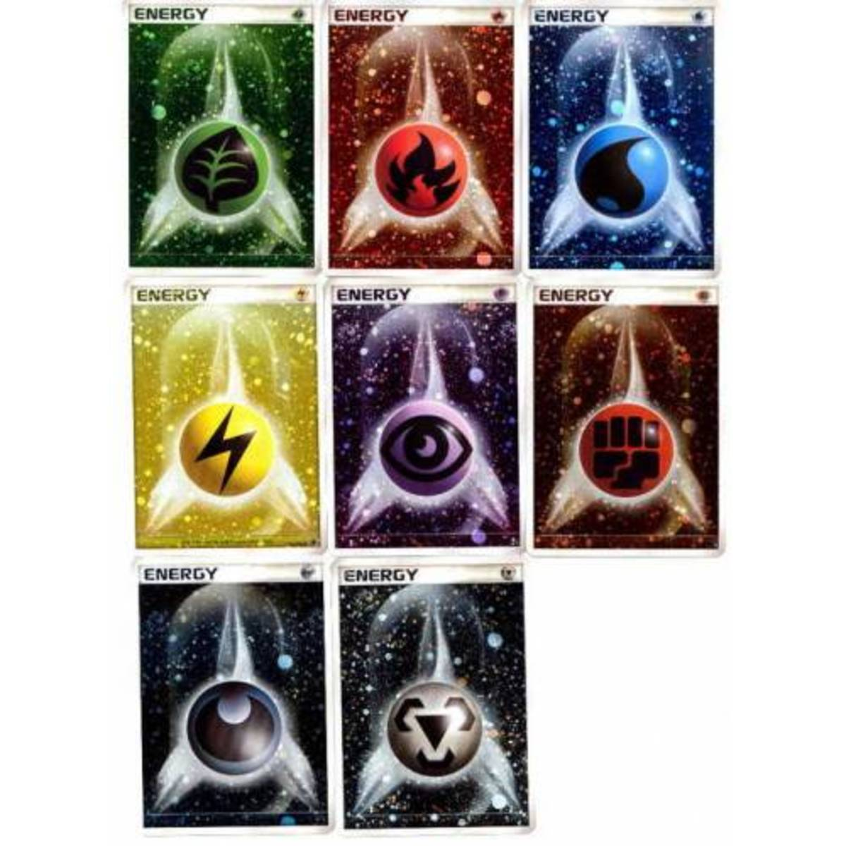 The basic energies in Pokémon, from top to bottom, left to right: grass, fire, water, lightning, psychic, fighting, darkness, and metal. Colorless (represented by a six-pointed star) and fairy (a pink butterfly) are not shown.
