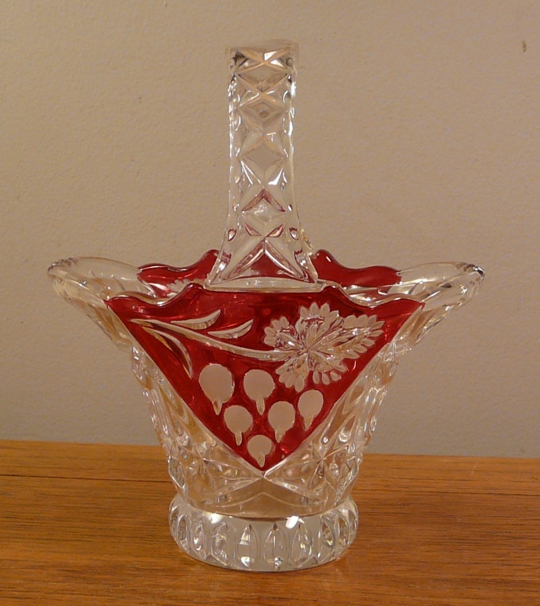 "This ruby glass basket is about 5"" tall"