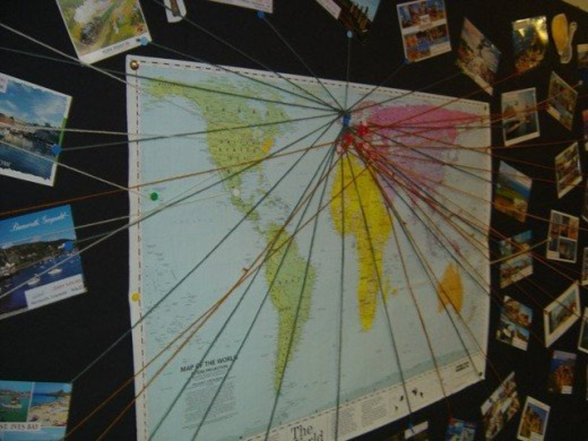 A superb display of cards traced to their origin on a map of the world.  Attractive and informative. From Flickr: http://www.flickr.com/photos/tonycassidy/1413257353/