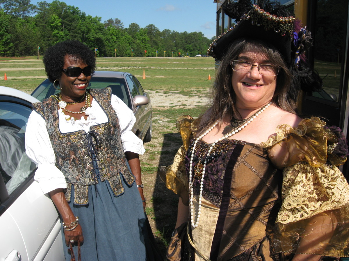 This lady designs and makes her own renaissance gowns.