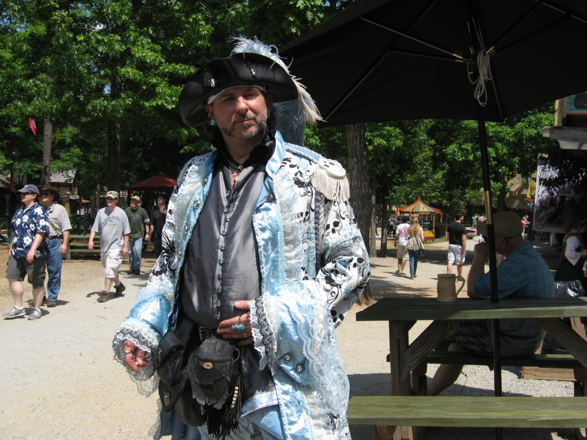 Renaissance costumes for men can be just as elaborate as those worn by women.
