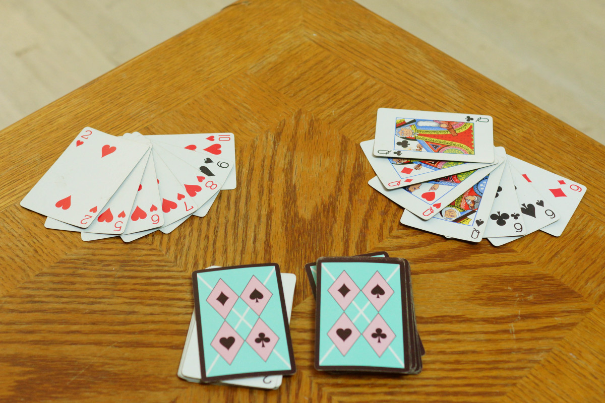 The cards on the right make up a winning hand of Gin.