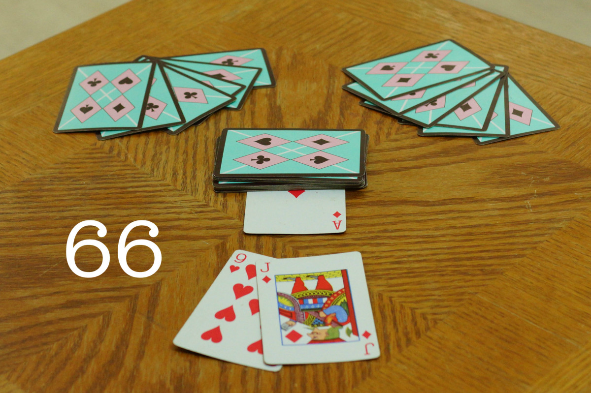 This is the setup to 66 with a possible trick in front. In this example trick, the Jack would beat the 9 of hearts because it is a trump card.