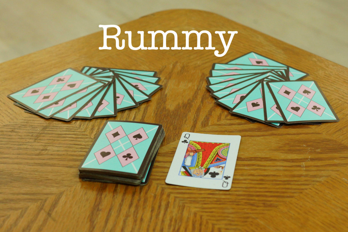 The setup for Rummy.