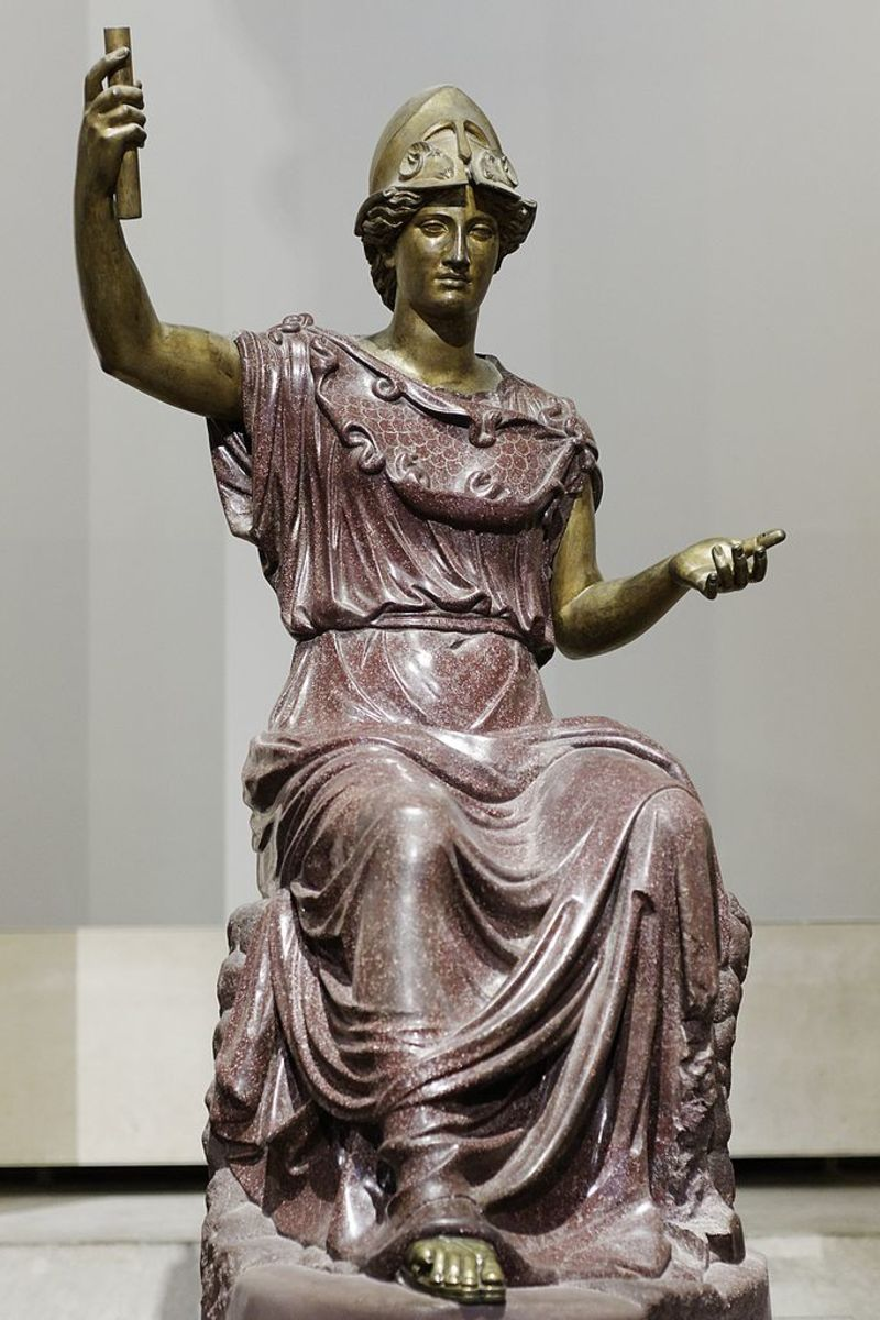 Second century Roman Minerva statue with 18th century arms and head copied from another statue. An imposing figure in any era.