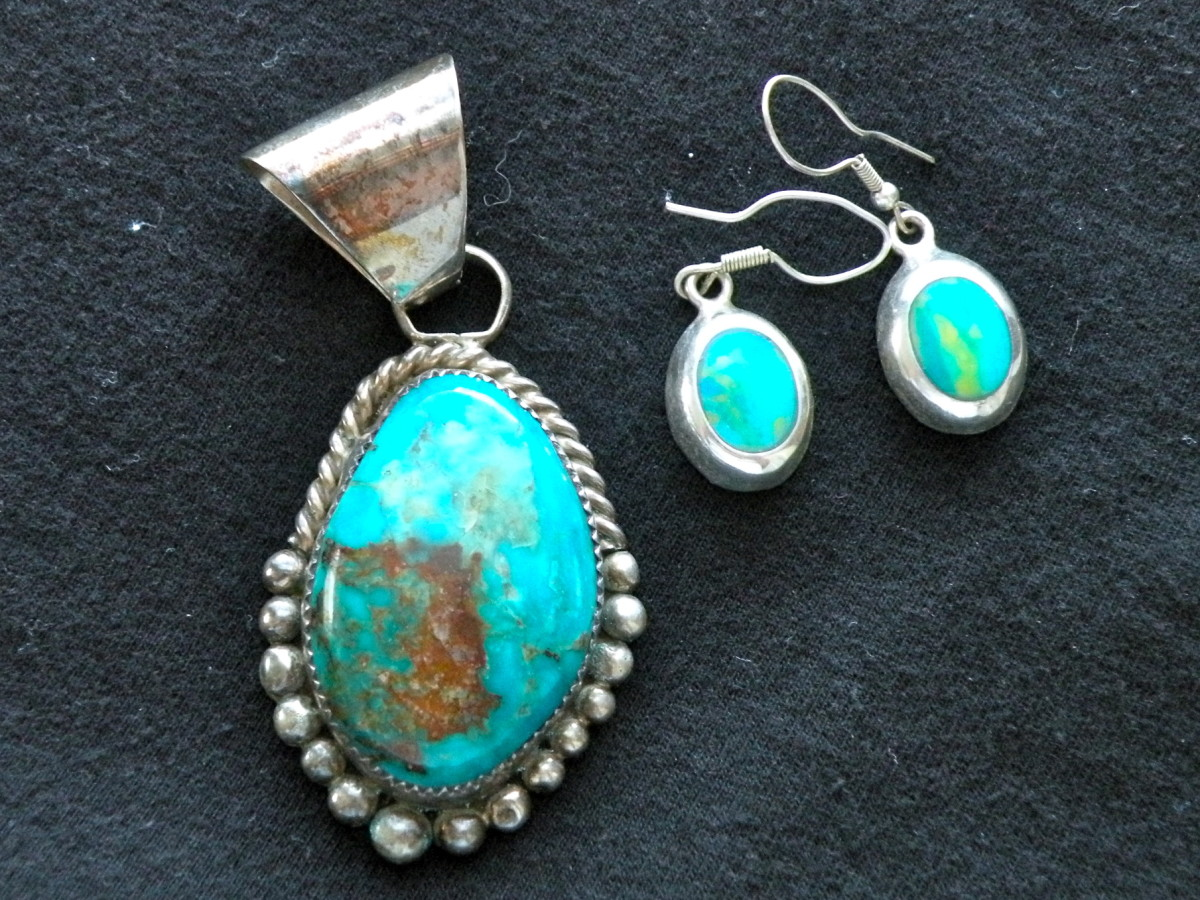 Turquoise and silver jewelry made from cut and polished turquoise.