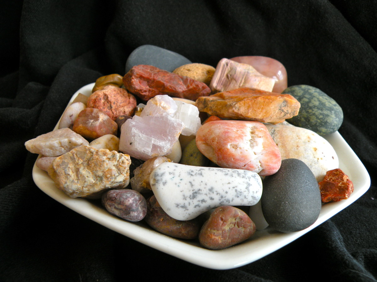 Rocks are presented in dishes and baskets around the house.