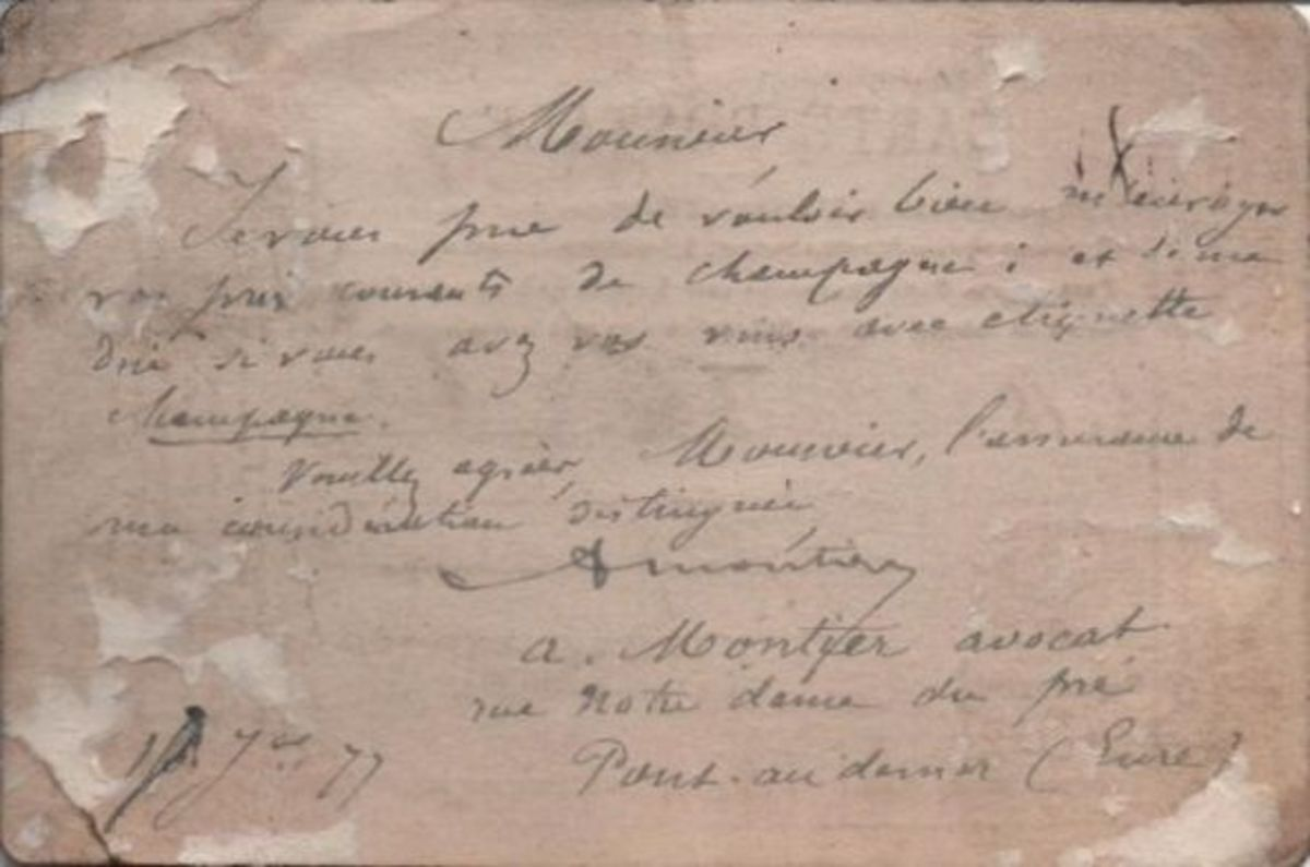 The message on my oldest postcard, which is an undivided back postcard from 1877.