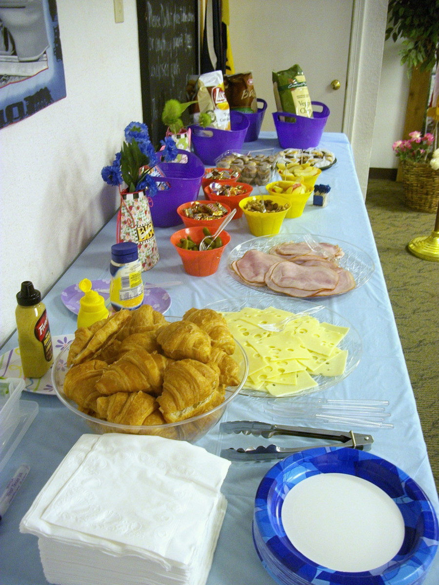 Snacks for a Bunco Night gathering.