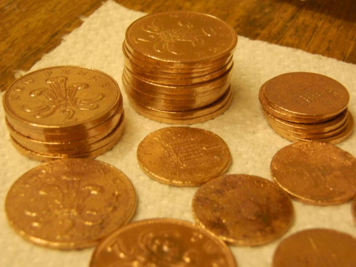 cheap copper coins look like gold