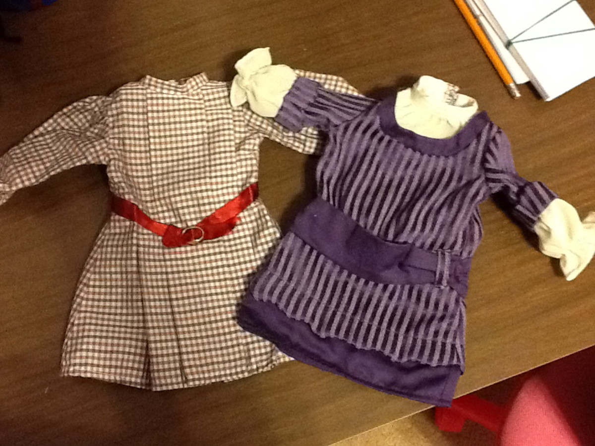 Most American Girl doll clothes are cold wash and line dry like Rebecca's dress on the right. However, the tag on Samantha's dress says dry clean only, so be sure to check before washing!