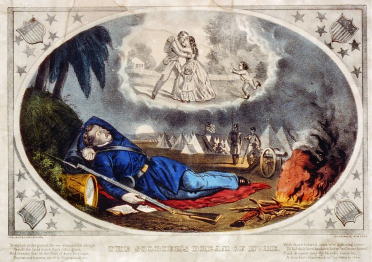 """The Soldier's Dream of Home"", a patriotic American Civil War print, showing a soldier in Union blue (with ""U.S."" belt-buckle) sleeping in a military camp, with a letter from home by his side, and dreaming of being happily reunited with his family."