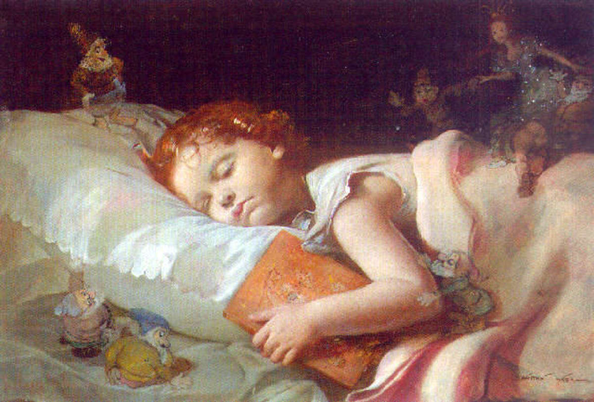 Sweet dreams dreaming of snowhite and the seven dwarves - painting by Franz Schrotzberg