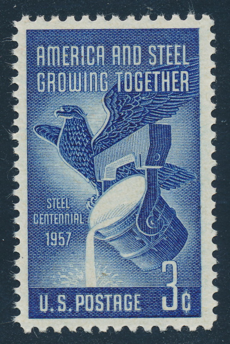 A US stamp from 1957, as stamp collecting was moving towards its peak of popularity