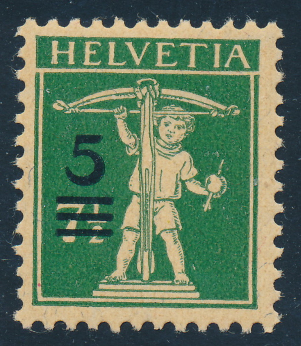 "An older stamp from Switzerland, showing the ""low tech"" way changes in postal rates were sometimes handled"