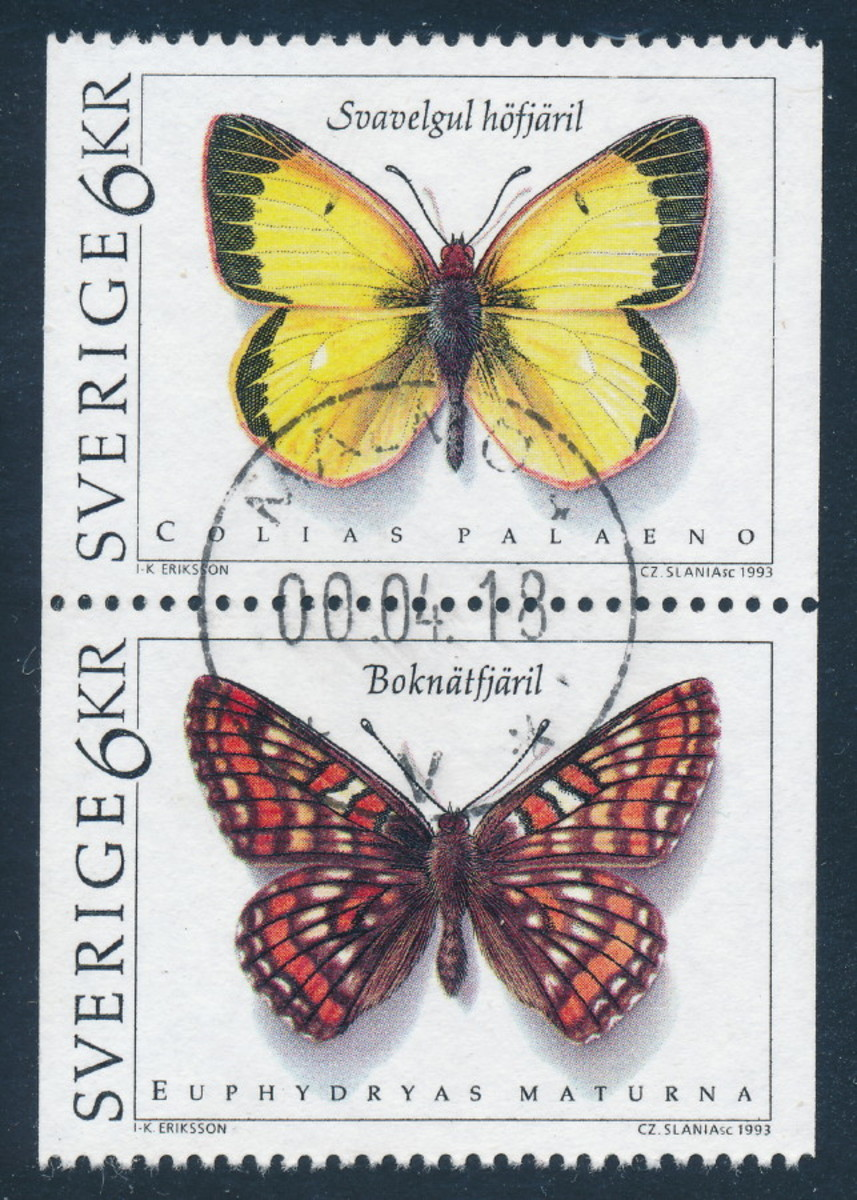 "These newer butterfly stamps from Sweden are typical of the new approach of ""thematic"" or ""topical"" stamp collecting"