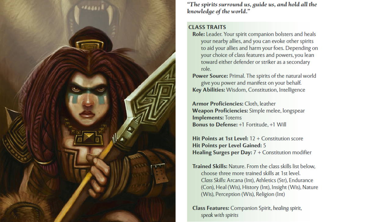 Classes each have their own unique traits, proficiencies, trained skills, build options and more, like the shaman.