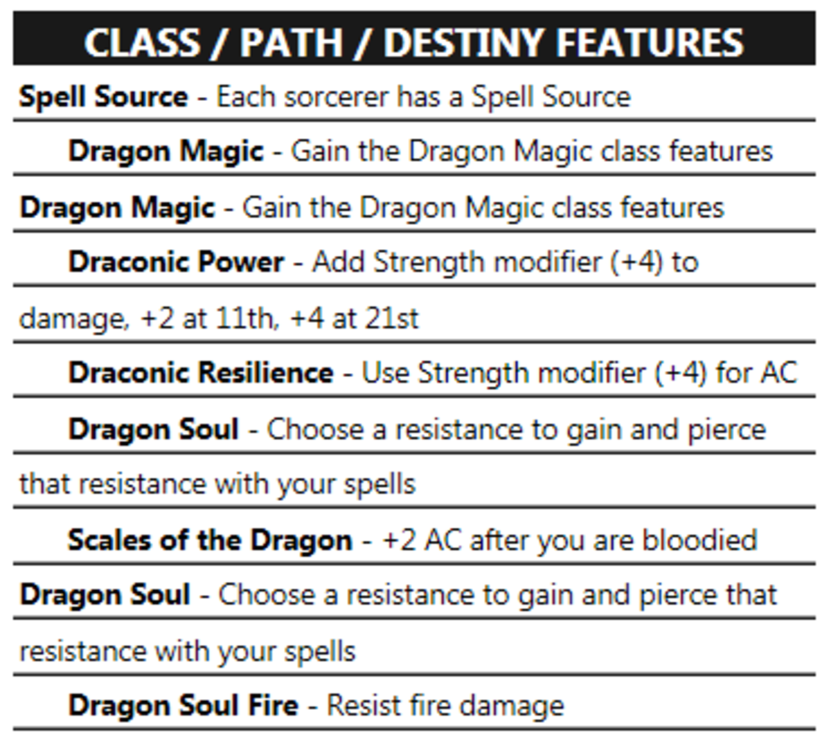 Particular classes have their own features and, in this sorcerer's case, special resistances.