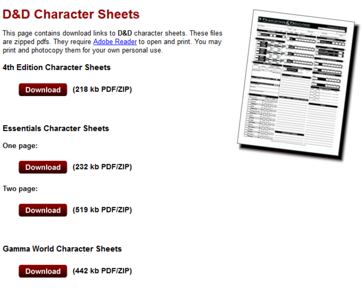 Wizards of the Coast provides free character sheets for download online.