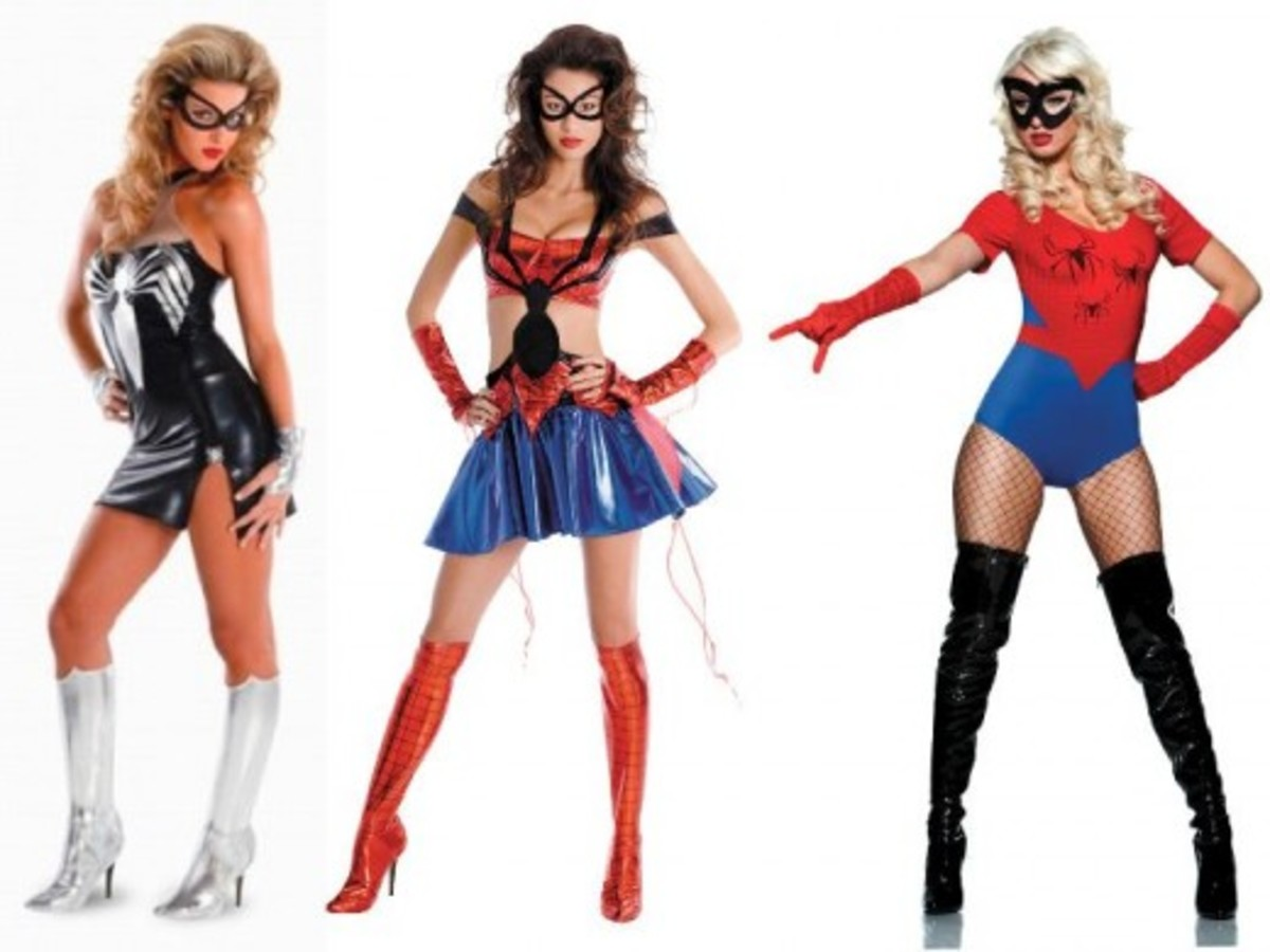 Mass Market Adult Spiderwoman Costumes for Halloween