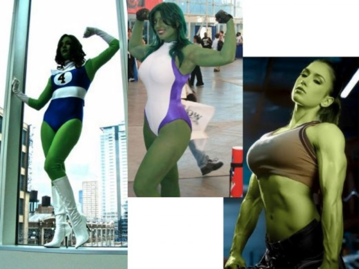 Cosplay Costumes and people creating She-Hulk by turning pictures of celebrities green.