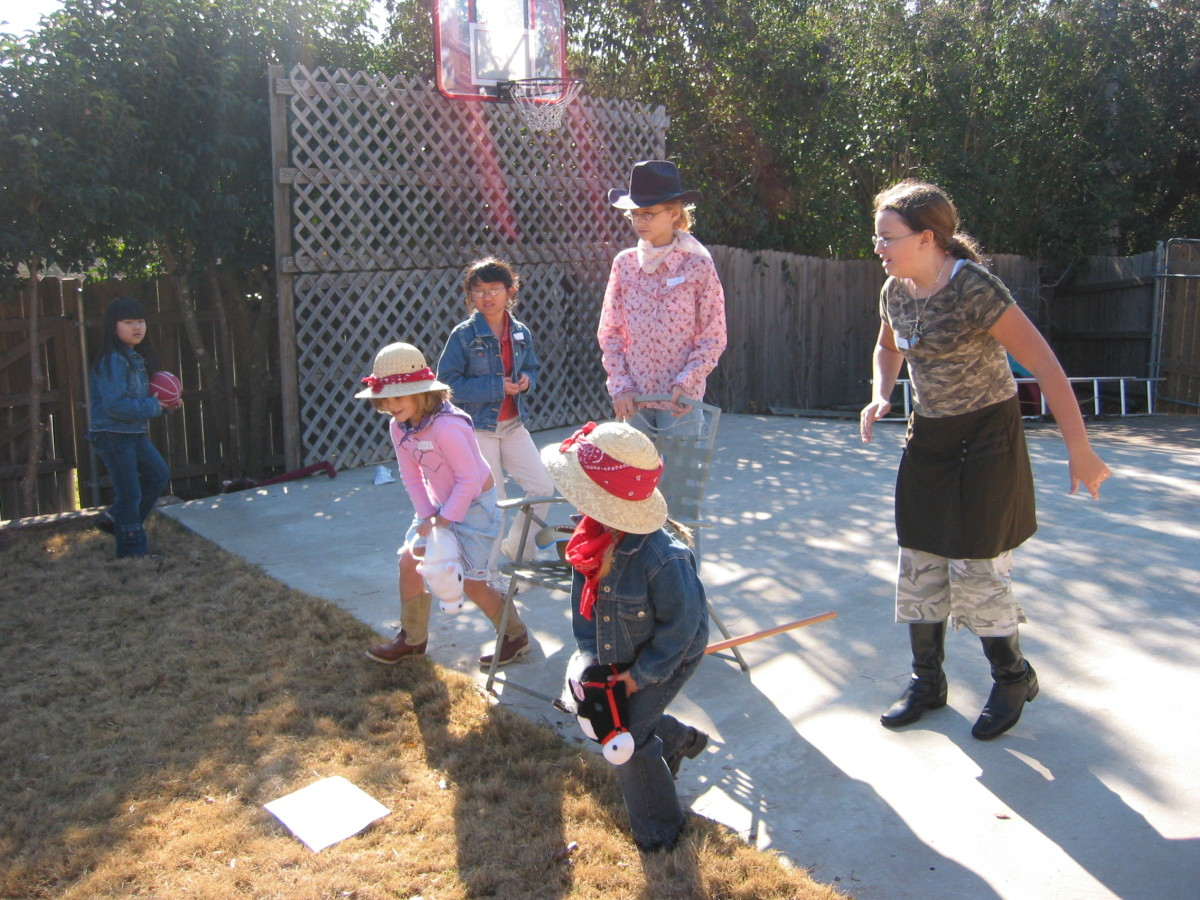 Stick Horse Tag.  Use party theme toys to make outdoor games fit your party.