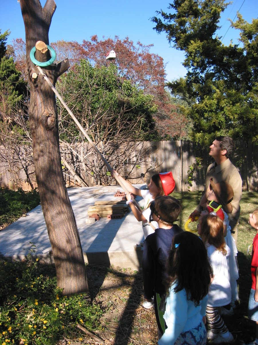 Obstacle Course: Get ring off tree with pole challenge.