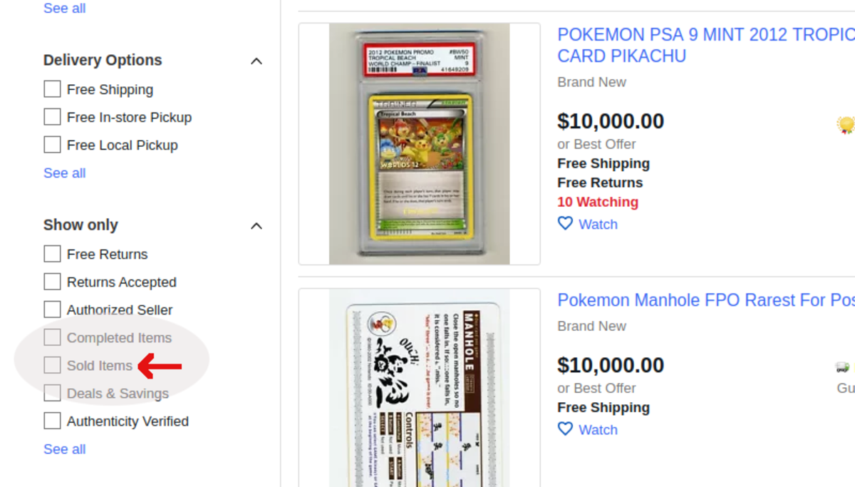 Screenshot of where to click to see only sold items
