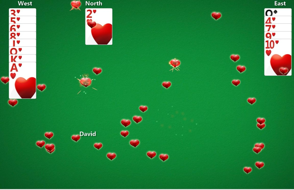 Winning a game of Hearts in the Windows version of the game.