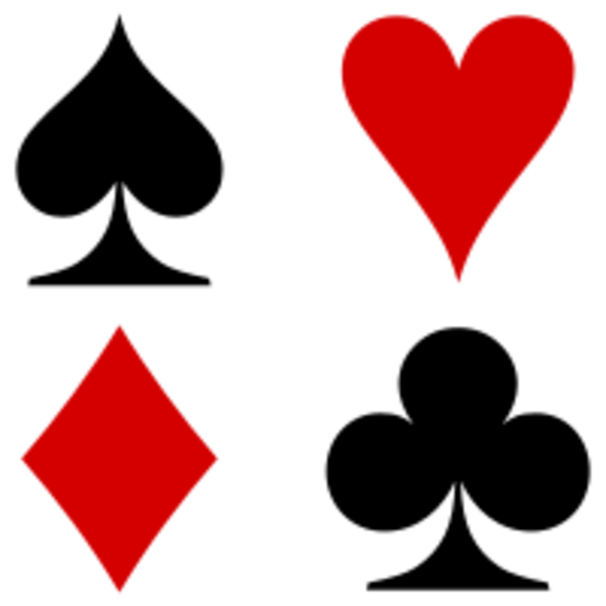 The four suits of playing cards are spades, hearts, diamonds and clubs. Bastard is unusual amongst card games as the suit of the cards do not really matter. It is the values that count.