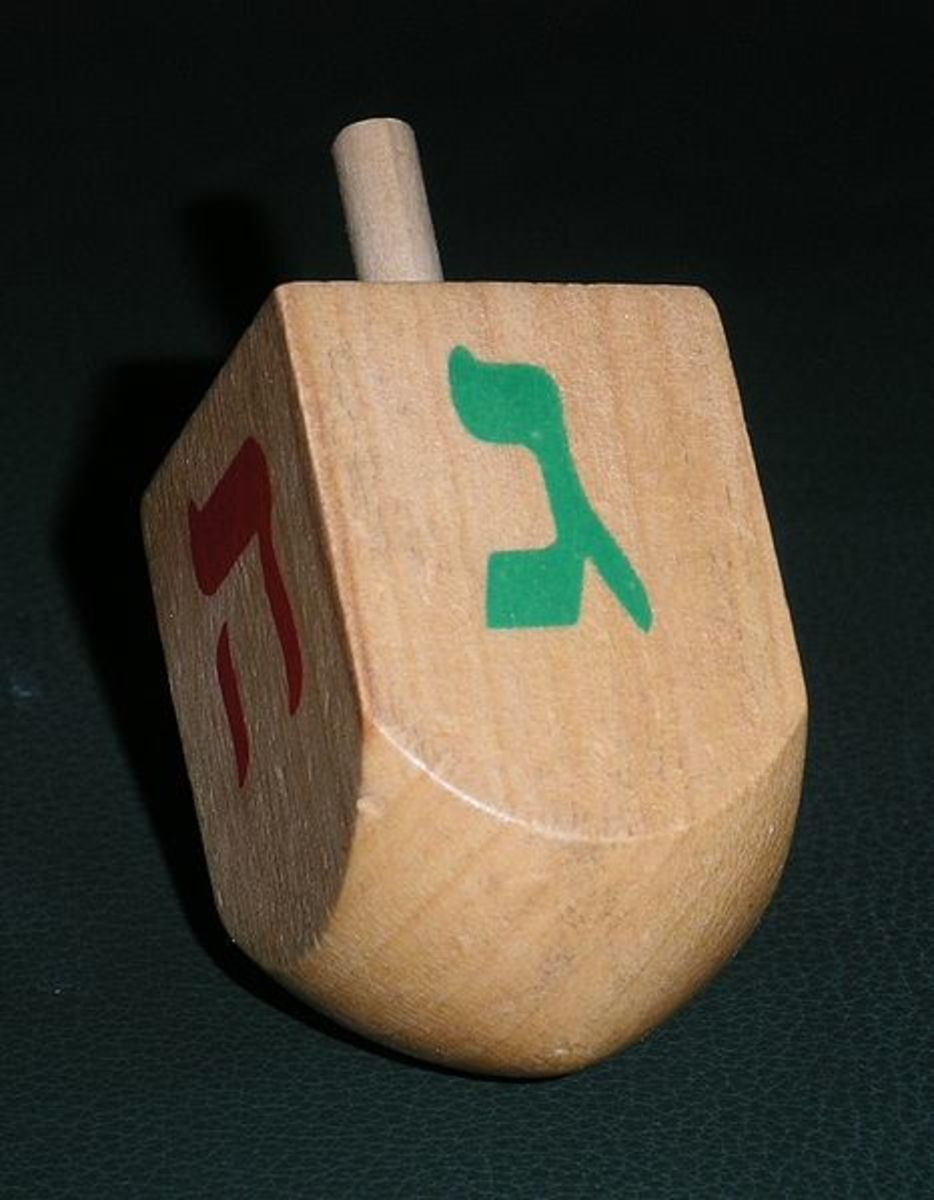 A traditional wooden dreidel.