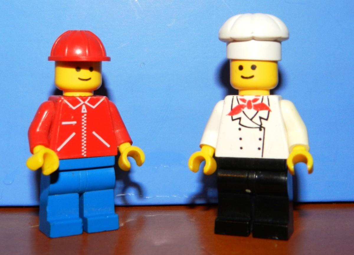 Construction Worker and Original Chef Vintage Lego Minifigures.
