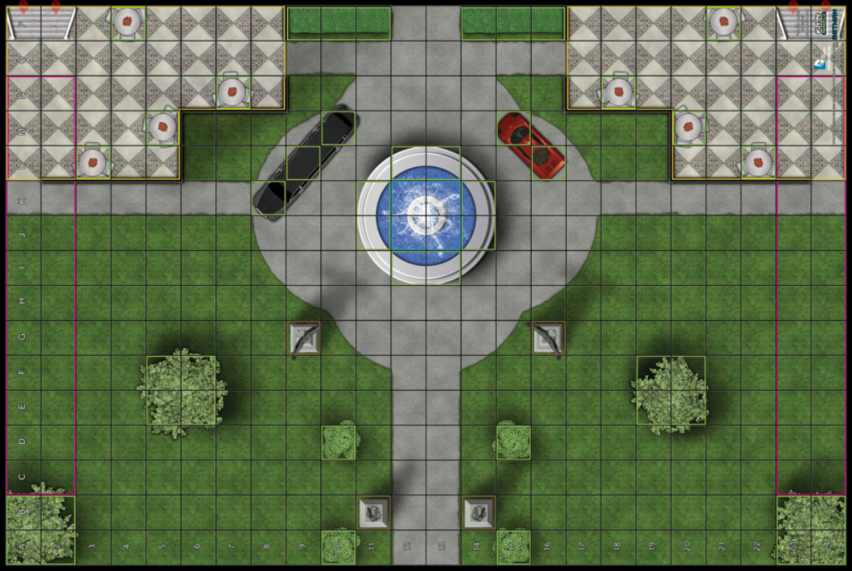 A Heroclix Map, showcasing what each square means