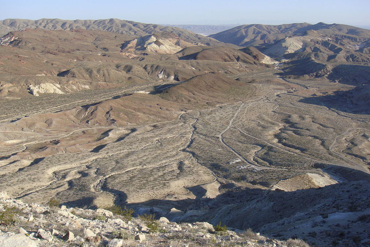 An alluvial plain in the foreground. Note the alluvium in the mountains at the top of the photo.